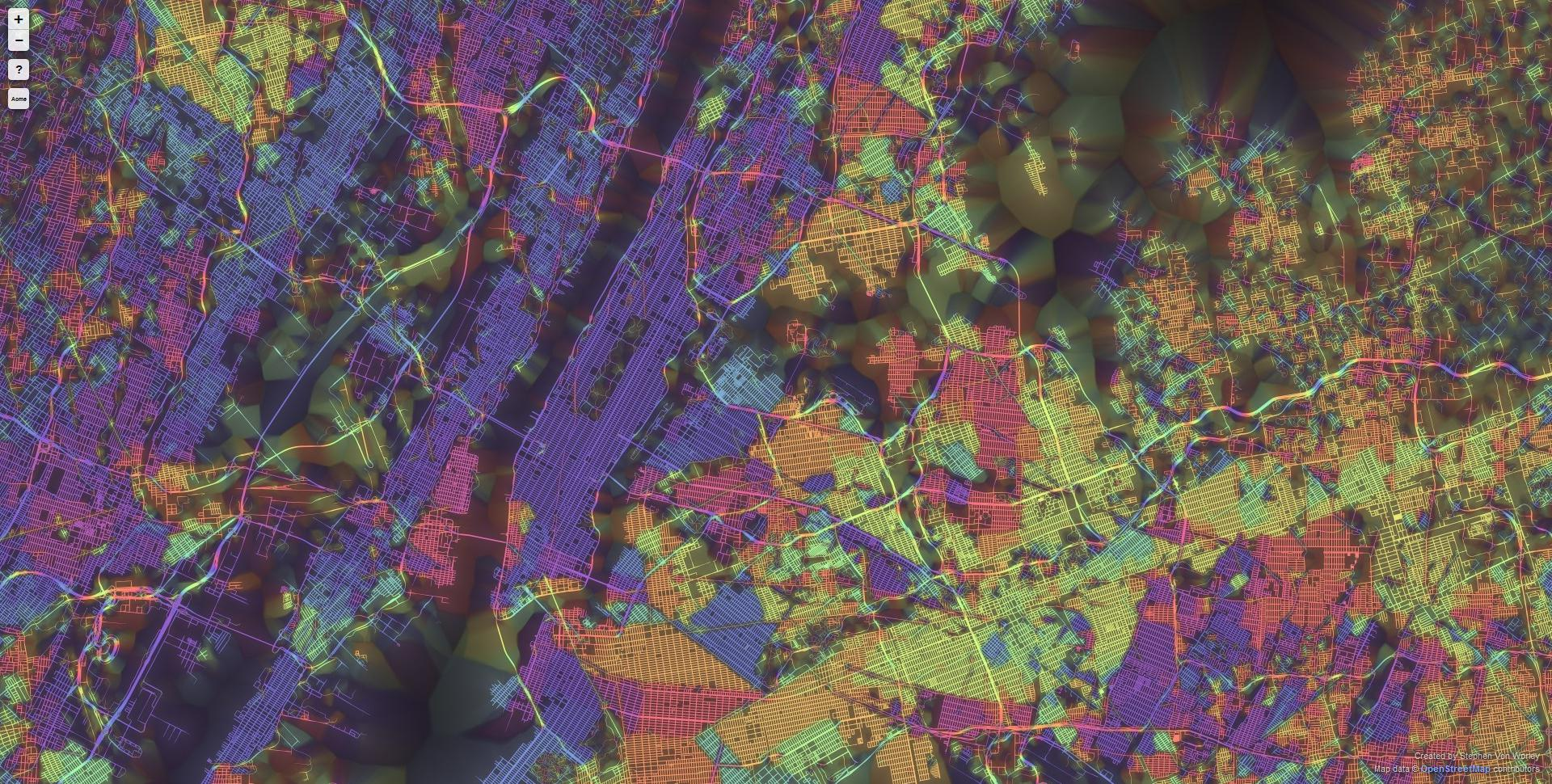 Ten Cities Visualized by the Street Patterns